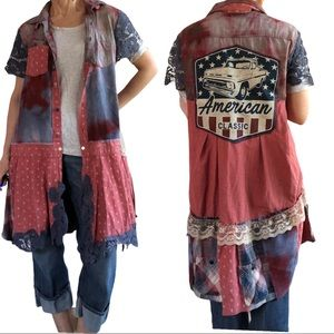 Upcycled flannel and corduroy duster or mini dress